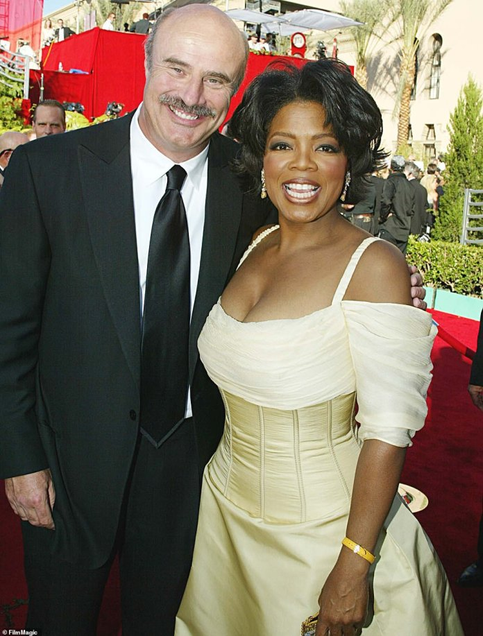 A start is born: Dr Phil's big break came he first met Oprah in the mid-Nineties - he became a regular guest expert on her daytime program before landing his own show in 2002. The stars are pictured here together at the Emmys in 2002