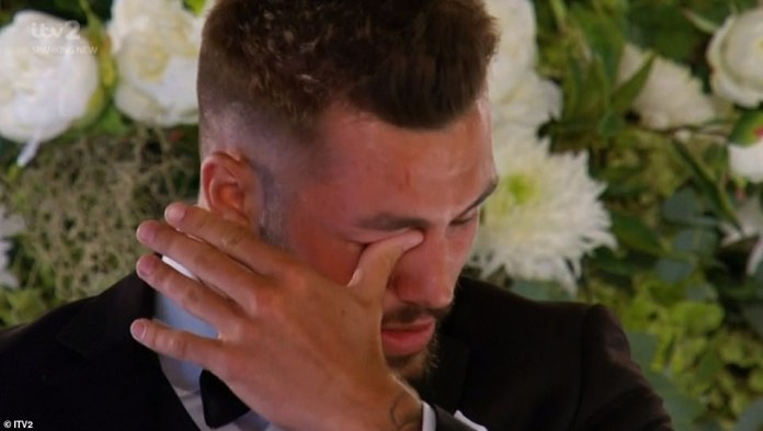 In love: Finn burst into tears on Sunday evening's Love Island finale, as he told Paige that he is in love with her