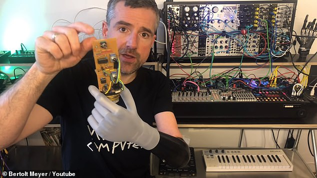 Jacks are used to connect the circuit board and synthesizer, allowing Meyer to control the pitch and sequences with his mind.