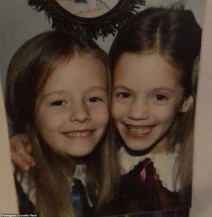 Family:Caroline grew up in Great Hockham near Norwich with her twin sister Jody, and gained a place at a Cambridge stage school aged just 16 (pictured in a snap the star posted)