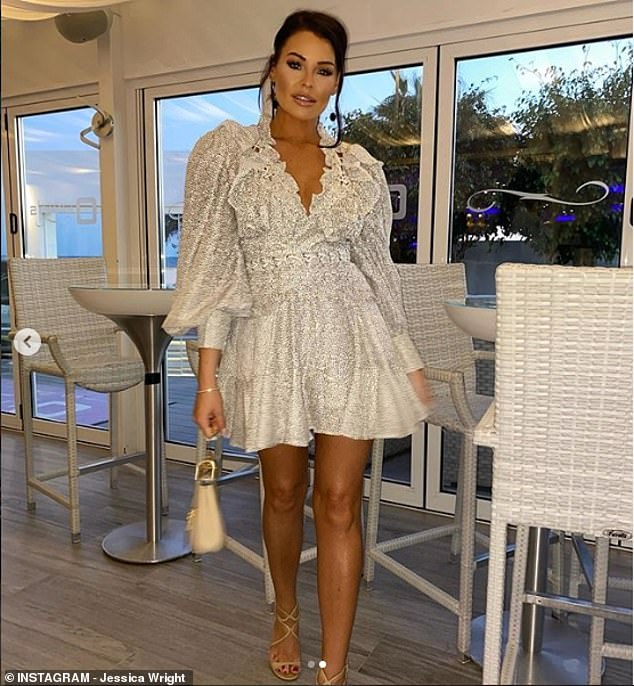 Gorgeous: On Saturday night they partied at Olivia's La Cala and Jess looked nothing short of sensational in a white dress with a ruffled neckline and billowing sleeves