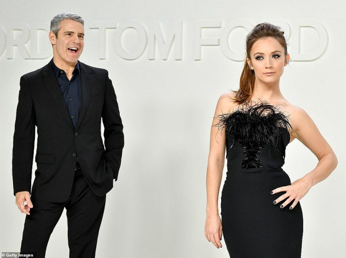 Duo: Carrie Fisher's daughter Billie Lourd meanwhile posed up a storm on the red carpet while Watch What Happens Live host Andy Cohen egged her on