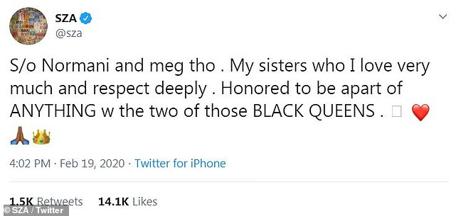 Sisters: While she didn't say exactly why she wouldn't do this again, she added in another tweet, 'S/o Normani and meg tho . My sisters who I love very much and respect deeply . Honored to be apart of ANYTHING w the two of those BLACK QUEENS'