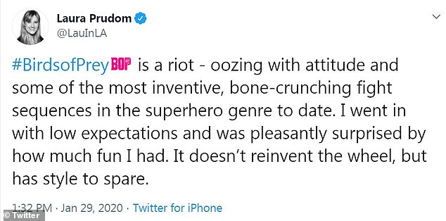 Reaction:IGN critic Laura Prudom gushed that Birds of Prey, 'is a riot - oozing with attitude and some of the most inventive, bone-crunching fight sequences in the superhero genre to date