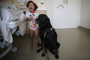 Rayssa plays with Troia, a therapeutically trained dog