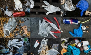 Latex plastic gloves littering among other waste the street in Paris on 29 March, 2020.