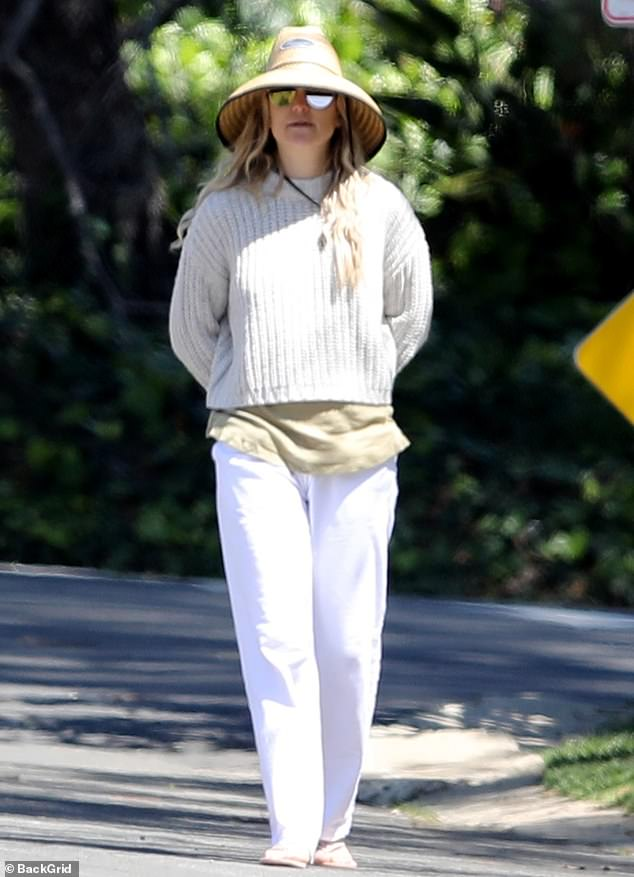 Taking it easy: Kate Hudson appeared to make the most of her down time, with the Academy Award nominated actress stepping out for a stroll around California's Pacific Palisades on Friday