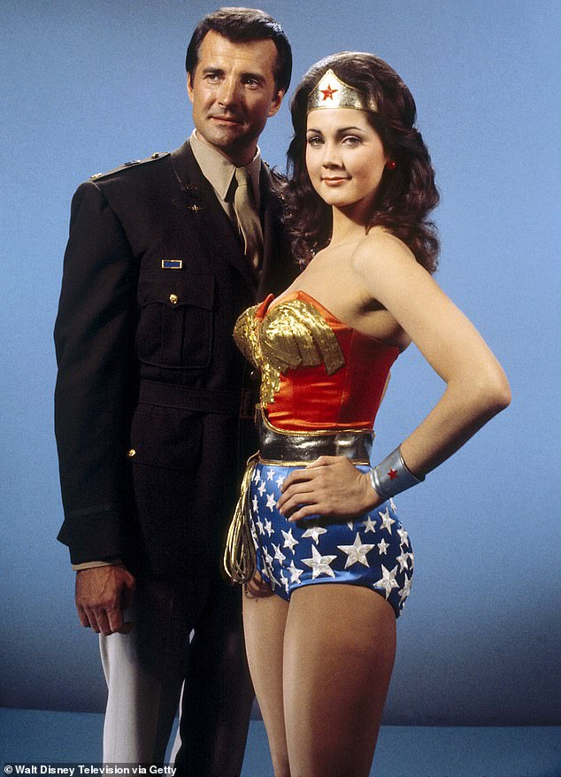 Gone too soon! Lyle Waggoner, who co-starred with Lynda Carter on Wonder Woman in the 1970s, died at the age of 84; seen in 1976