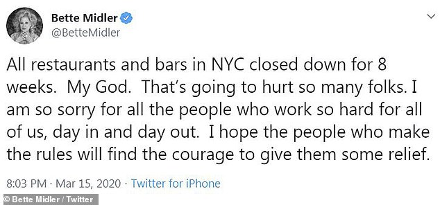 Major: Bette Midler gave her two cents on New York's decision to close down restaurants and bars in the city for eight weeks