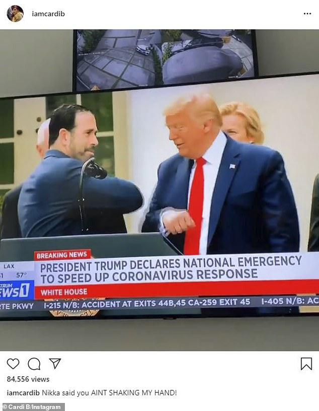 Watching TV: The Press hitmaker found it hilarious that members of the Trump administration avoided shaking the President's hand at a recent press conference