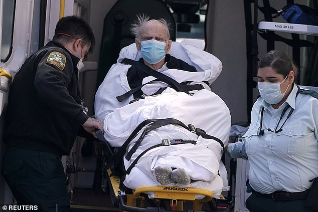 In New York, more than 1,000 US patients are critically ill, and need ventilators. Seven have been treated with leronlimab, and all but one has shown improvement. Pictured: a patient loaded into an ambulance amid New York's outbreak