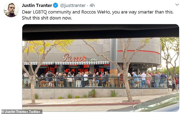 Shut it down: Justin Tranter used his social media platform to slam Rocco's in West Hollywood for continuing to host large gatherings
