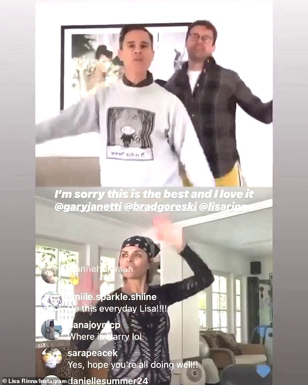Weeee! The 56-year-old Daytime Emmy nominee also posted a virtual dance party via Instagram Live with stylist Brad Goreski (R) and his husband Gary Janetti (L)