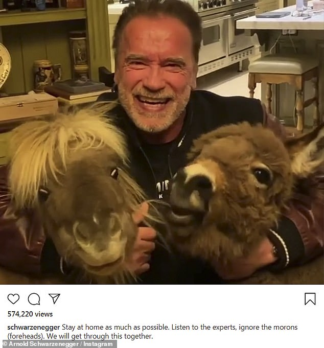 Stay at home:Arnold Schwarzenegger wrapped his arms around two donkeys in a video shared to his Instagram, where he told his followers to 'stay at home'