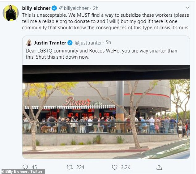 Unacceptable: Billy Eichner chimed in on the Rocco's issue on Twitter