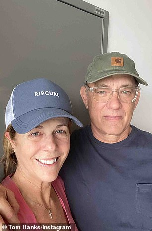 His father Tom Hanks (2-L) and stepmother Rita Wilson (L) are recovering from COVID-19 in Australia