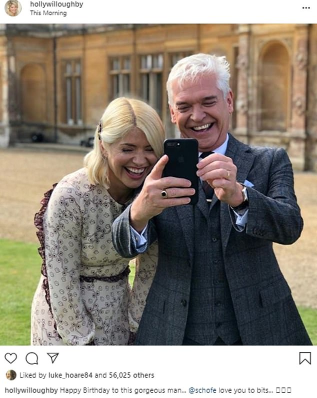 Socially-distant birthday: Holly Willoughby wished her pal and This Morning co-host Phillip Schofield a happy birthday on Wednesday morning with a sweet Instagram snap