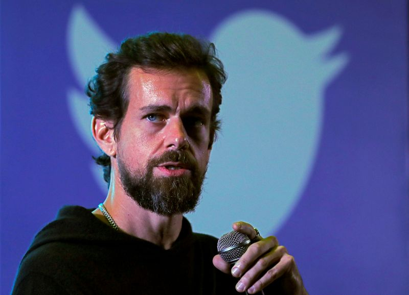 © Reuters. FILE PHOTO: Twitter CEO Jack Dorsey addresses students during a town hall at the Indian Institute of Technology (IIT) in New Delhi