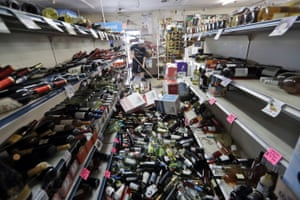 A wine store in Ridgecrest, California, after the largest earthquake the region has seen in nearly 20 years jolted an area from Sacramento to Las Vegas to Mexico.