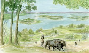 Artist's impression of Bronze Age Thames-side farming on the Greenwich Peninsula.
