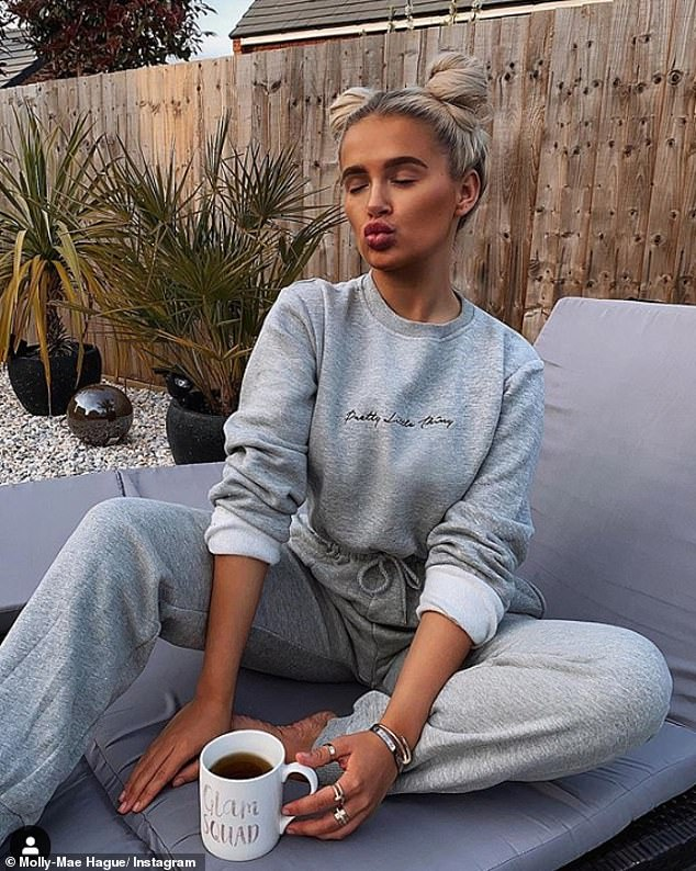 Keeping it casual: The beauty late posed in a loungewear set from Pretty Little Thing, revealing she was wearing comfy clothing every day