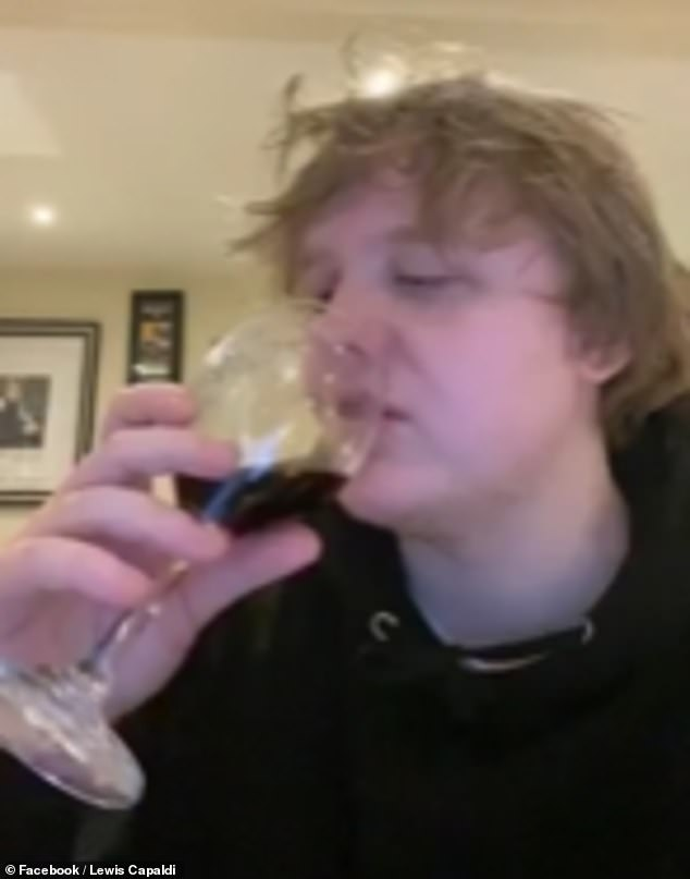 Delicious: In the revealing chat, Lewis enjoyed several large glasses of wine, and said he'd love to be locked up with Gordon Ramsay during his self isolation