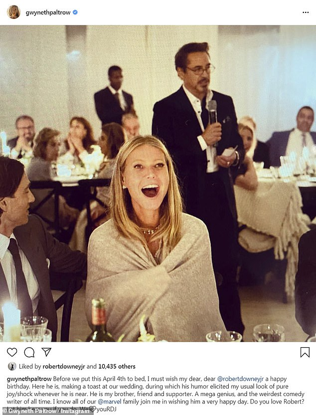 Sending love: Despite not being able to celebrate together, over the weekend, Gwyneth wished her Iron Man co-start Robert Downey Jr. a happy birthday with a sweet Instagram post while on quarantine
