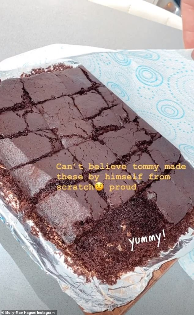 Tasty treats: The reality star also showcased Tommy's baking efforts, revealing he had made brownies from scratch