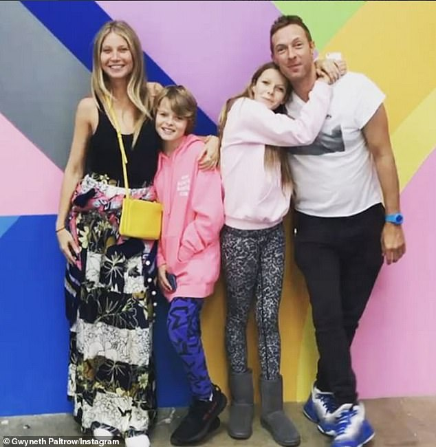 Low profile:The Goop founder shares the teenagers with her ex-husband, Coldplay frontman Chris Martin and neither parent posts photos of their kids very often on social media (Pictured together in 2017)