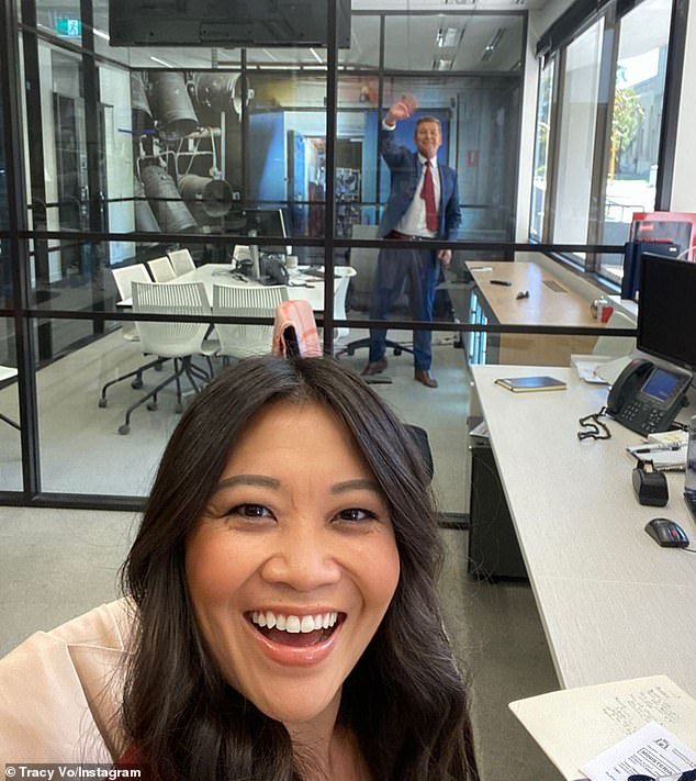 Hello over there! The journalist took spaced-out selfies with her colleagues, including 60 Minute Australia's Liam Bartlett and presenter Michael Thomson (pictured), as they work long distances apart or even behind a glass wall