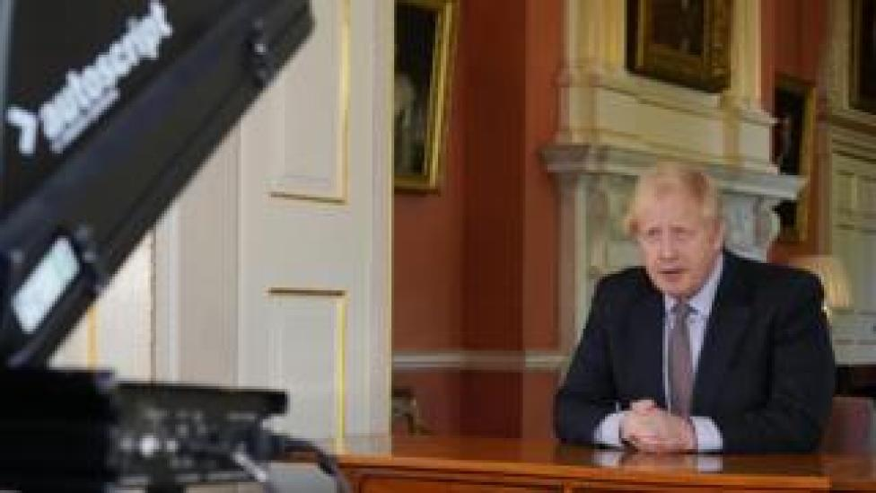 Boris Johnson delivering his address to the nation