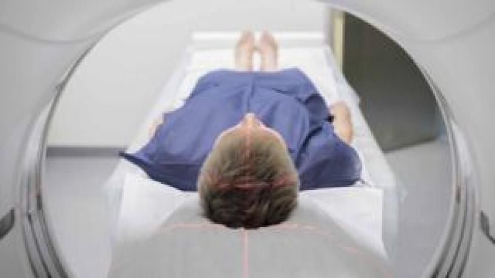 Man in a CT scanner