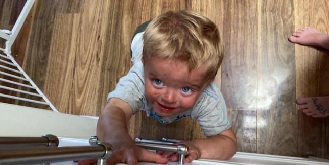 Toddler gets into fake tan