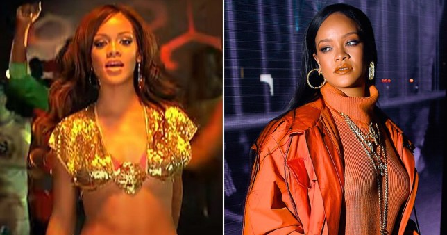 Rihanna pictured in Pon de Replay music video in 2005 and in 2020