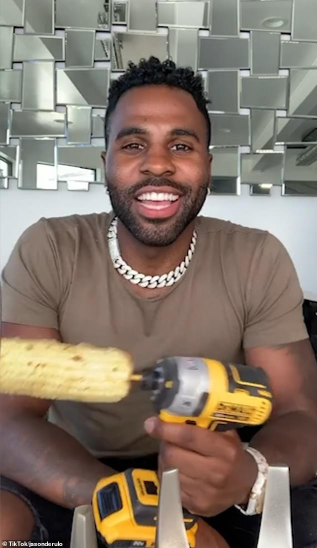 Having fun:At the start of the video, Jason appeared to be excited to begin the challenge as he told the camera: 'Hey, have y'all seen this? I've always wanted to try it! Life hack'