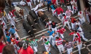Running of the Bulls, Festival of San Fermin, Pamplona, Navarra, Spain.