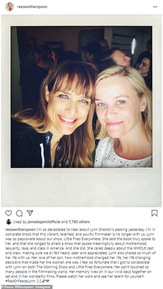 'Her memory lives on in our vivid days together on set': Reese Witherspoon, with whom Lynn collaborated on Little Fires Everywhere and The Morning Show, penned a touching tribute