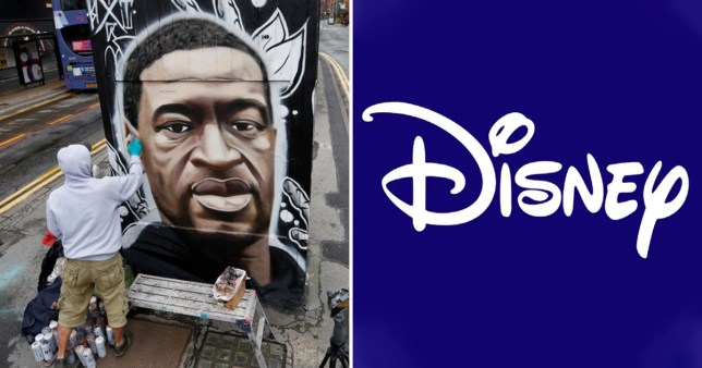 Disney logo alongside picture of George Floyd mural