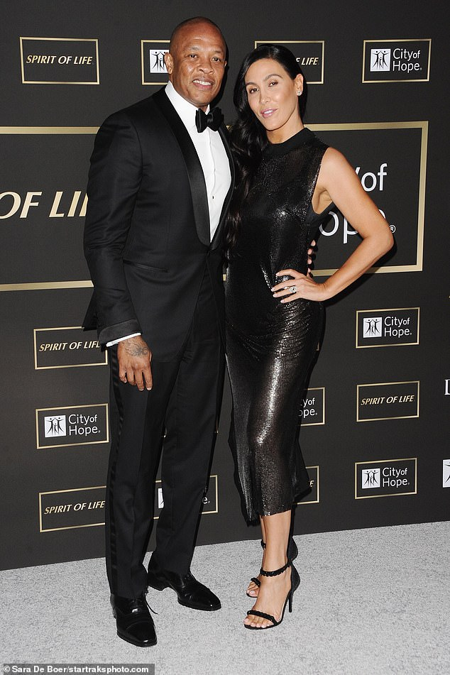 Split! Dr. Dre's wife Nicole Young has filed for divorce after 24 years from the rapper, who is worth an estimated $800 million (the couple pictured above in 2018)