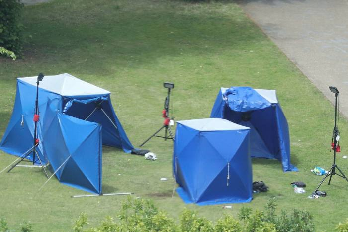 Police tents in Forbury Gardens