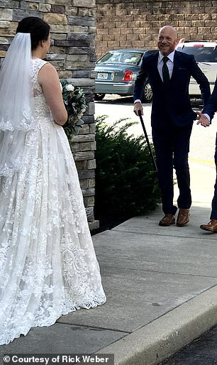 By September 2018, at the wedding of Weber's daughter's (pictured), he was using a cane and sometimes a wheelchair