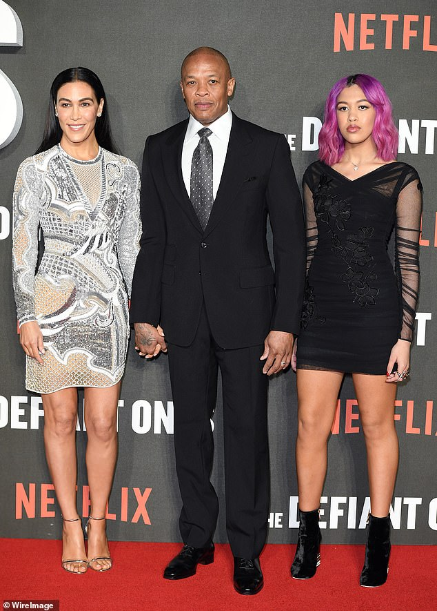 Family man: Dr. Dre with his wife Nicole Young and their daughter Truly Young at The Defiant Ones special screening at the Ritzy Picturehouse on March 15, 2018 in London, UK