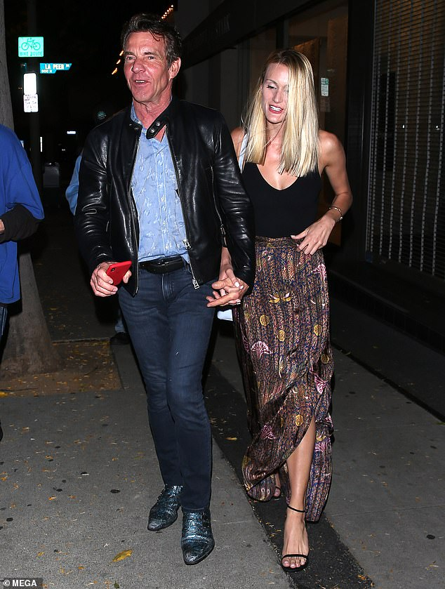 Start of their love:Dennis and Laura, a doctoral student, met at a business event and started dating in May 2019; pictured leaving Craig's restaurant May 14, 2019 in West Hollywood