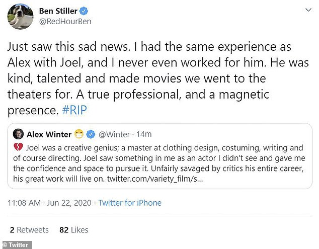 A-List: Ben Stiller, who did not work with the director, re-tweeted a tribute from The Lost Boys star Alex Winter