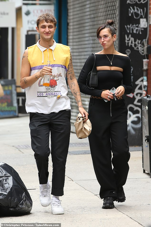 Out and about:Dua Lipa and Anwar Hadid looked thrilled to be back in the US as they stepped out following lunch at Cafe Habana in New York City on Friday