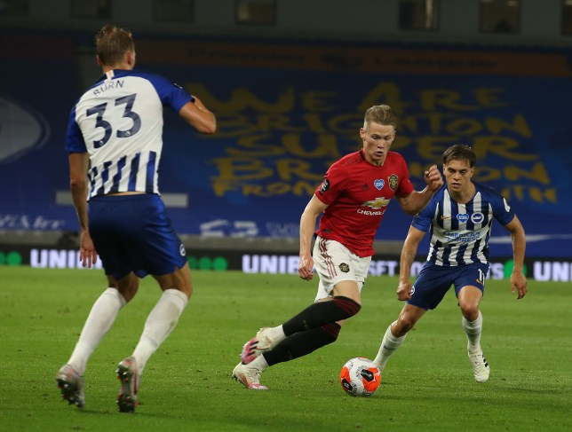 Scott McTominay runs with the ball during Manchester United's Premier League victory over Brighton