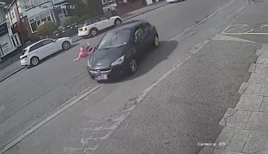 Uncleared grabs of a kid getting hit by a car and surviving, credit: Twitter/@DC_Police
