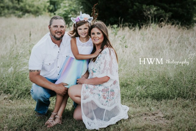 Julie Hindsley, 33, from Texas, US with Ella 6 and husband Daniel, 37 posing for a second gender reveal photoshoot as their daughter transitions