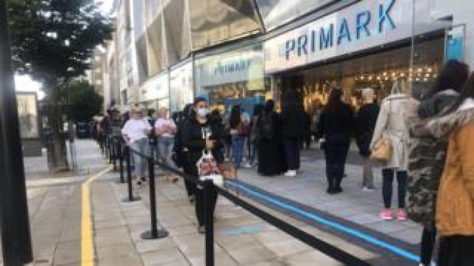 The queue outside Primark