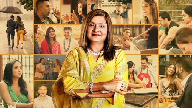 Matchmaker Sima Taparia standing in front of a collage of scenes from Netflix's Indian Matchmaking